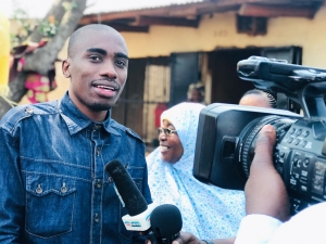 Tanzania artist, Kala Jeremiah, was briefly interviewed by the media about the Sabasaba market clean-up activity