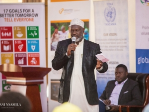Sheikh Musa Kundecha, a leader of Interlerigious Council for Peace Tanzania, explaining the important role of religious leaders in peacebuilding