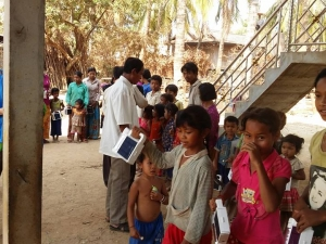 Cambodia Village Children Hold Solar Lamps