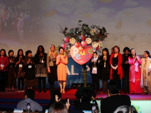 International women leaders place their common prayers for peace together at the official inauguration of Global Peace Women.