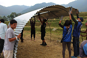 Non-permanent shelters for Nepali refugee